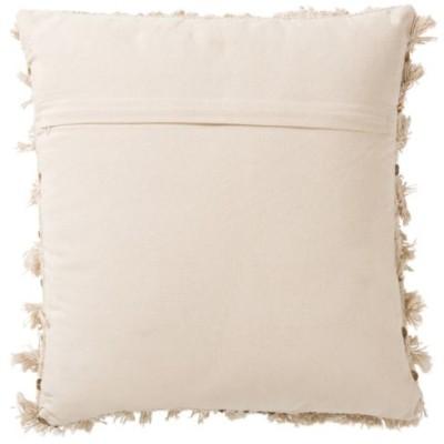 Poduszka futrzana z frędzlami PEARL kremowo-złota 45x45cm