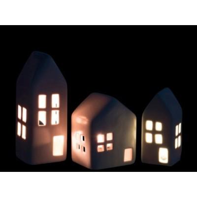Zestaw lampionów ceramicznych DOMKI