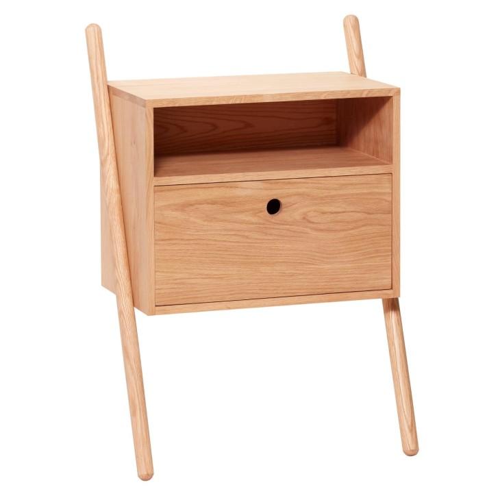 Stolik nocny z podparciem, komoda drewniana dębowa Hubsch 880412