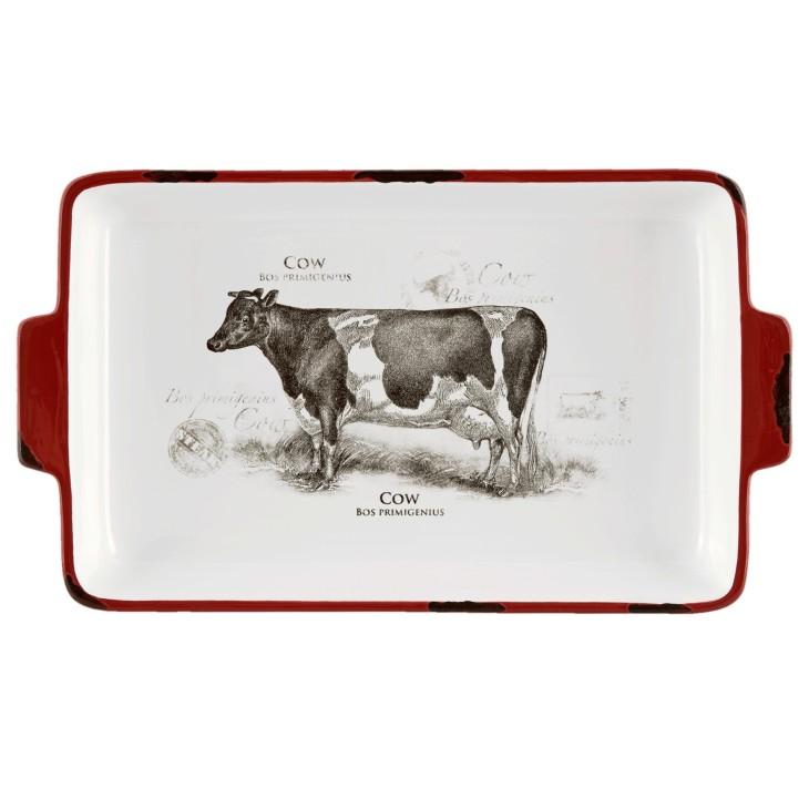 Półmisek ceramiczny z motywem krowy, prostokątny Clayre & Eef CSAPSC