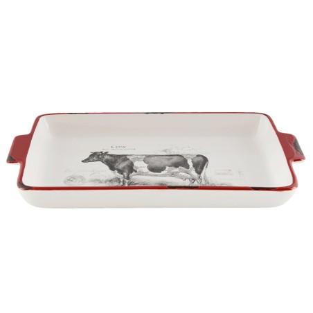 Półmisek ceramiczny z motywem krowy, prostokątny