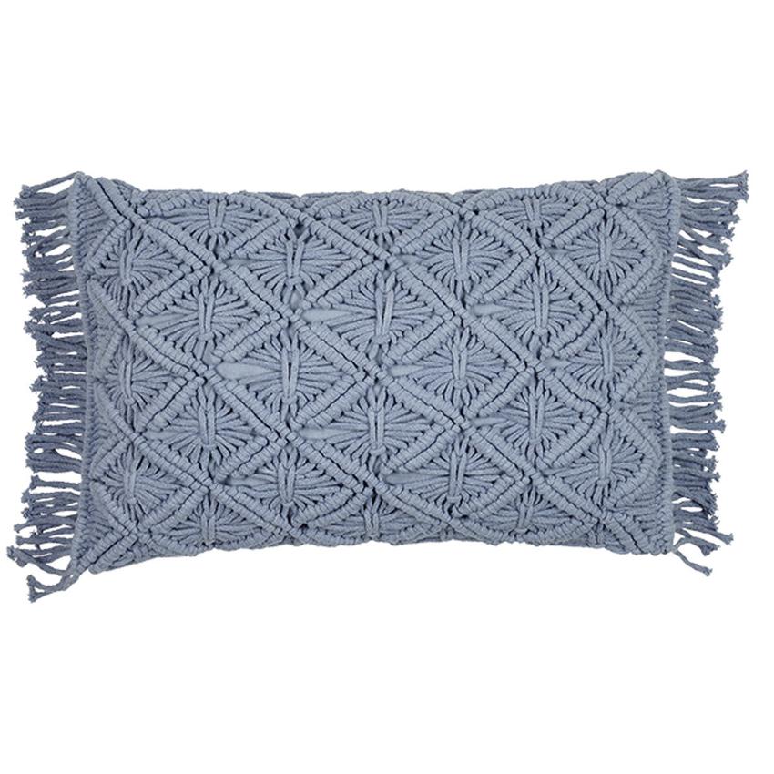Poduszka MACRAME bawełniana błękitna 40x60cm